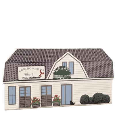 Wooden replica of the Casino by the Sea on Falmouth, Mass. Handcrafted by The Cat's Meow Village in the USA.