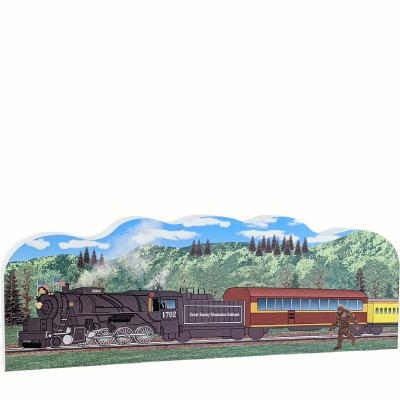 """Great Smoky Mountain Railroad, Bryson City, North Carolina. Handcrafted in the USA 3/4"""" thick wood by Cat's Meow Village."""