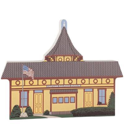 """Colorful replica of Chatham Railroad Station, Chatham, Cape Cod, Massachusetts.  Handcrafted in the USA 3/4"""" thick wood by Cat's Meow Village."""