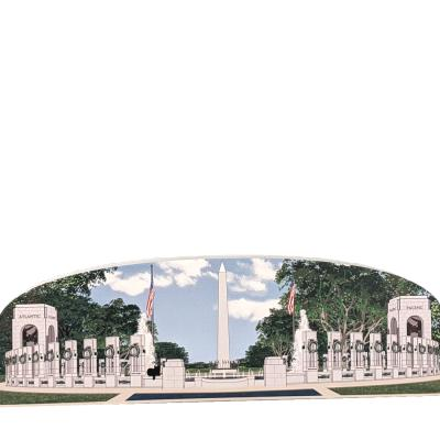 """World War II Memorial, Washington Monument View, Washington DC. Handcrafted in the USA 3/4"""" thick wood by Cat's Meow Village."""
