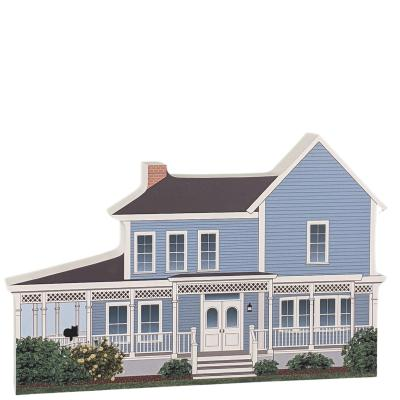 """Lorelai & Rory's House, Stars Hollow, Gilmore Girls. Handcrafted in the USA 3/4"""" thick wood by Cat's Meow Village."""