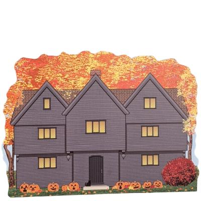 The Witch House in Salem, Massachusetts all decked out in autumn fall colors. Handcrafted by The Cat's Meow Village in Wooster, Ohio.