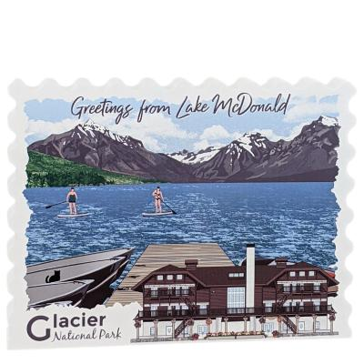Isn't this postcard-style wooden shelf sitter just a perfect reminder of your trip to Glacier National Park?