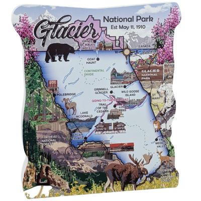 """Glacier National Park Map, Montana.  Handcrafted in the USA 3/4"""" thick wood by Cat's Meow Village."""
