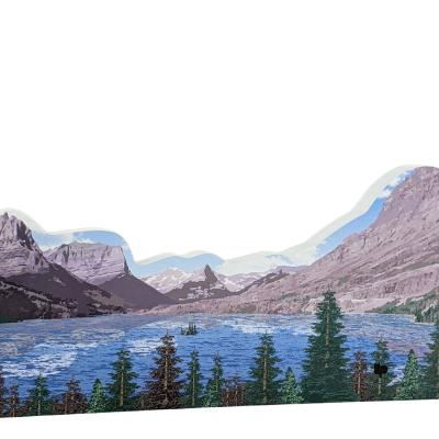 """Wild Goose Island, Glacier National Park, Montana. Handcrafted in the USA 3/4"""" thick wood by Cat's Meow Village."""