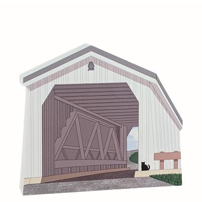 """Green Sergeant Covered Bridge, New Jersey. Handcrafted in the USA 3/4"""" thick wood by Cat's Meow Village."""