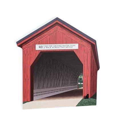 "Zumbrota Covered Bridge, Minnesota. Handcrafted in the USA 3/4"" thick wood by Cat's Meow Village."