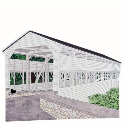 "Knox Covered Bridge, Pennsylvania. Handcrafted in the USA 3/4"" thick wood by Cat's Meow Village"