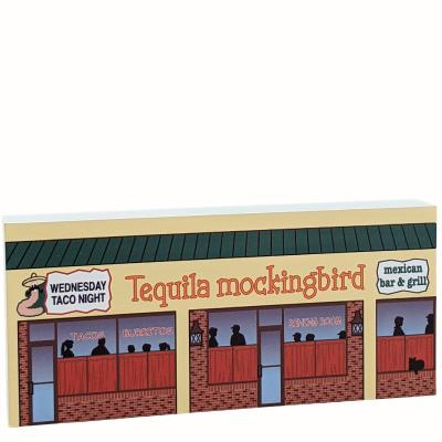 """Tequila Mockingbird Mexican Bar & Grill, Ocean City, Maryland. handcrafted by The Cat's Meow Village in 3/4"""" thick wood to add to your home decor."""