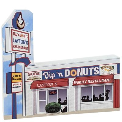 """Layton's Dip 'n Donuts, Ocean City, Maryland. Handcrafted in the USA 3/4"""" thick wood by Cat's Meow Village."""