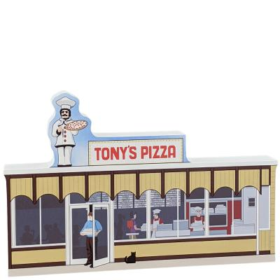 "Tony's Pizza handcrafted in 3/4"" thick wood by the Cat's Meow Village in the USA."