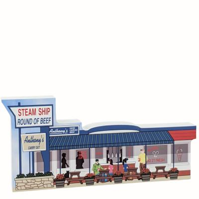 """Anthony's Carry Out, Ocean City, Maryland. Handcrafted in the USA 3/4"""" thick wood by Cat's Meow Village."""