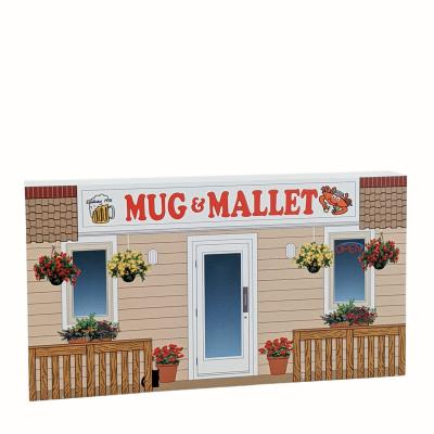 """Mug & Mallet, Ocean City, Maryland. Handcrafted in the USA 3/4"""" thick wood by Cat's Meow Village."""