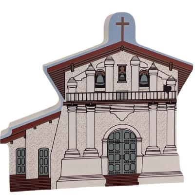 """Mission Dolores San Francisco, California. Handcrafted in the USA 3/4"""" thick wood by Cat's Meow Village."""