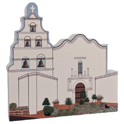 """Mission San Diego De Alcala, California. Handcrafted in the USA 3/4"""" thick wood by Cat's Meow Village."""