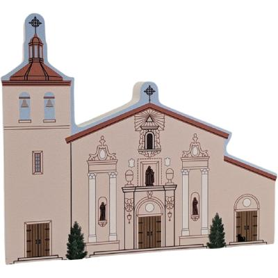 "Santa Clara De Asis Mission, Santa Clara, California. Handcrafted in the USA 3/4"" thick wood by Cat's Meow Village."