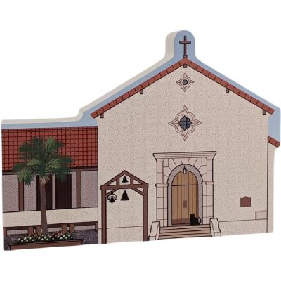 "Mission San Rafael Arcangel, San Rafael, CA. Handcrafted in the USA 3/4"" thick wood by Cat's Meow Village."