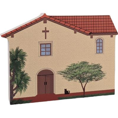 """Mission San Fernando, Los Angeles, CA. Handcrafted in the USA 3/4"""" thick wood by Cat's Meow Village."""