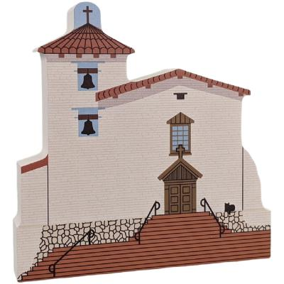 """Mission San Jose, Fremont, California. Handcrafted in the USA 3/4"""" thick wood by Cat's Meow Village."""