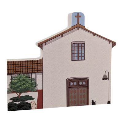 """Mission San Miguel Arcangel, California. Handcrafted in the USA 3/4"""" thick wood by Cat's Meow Village."""