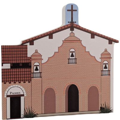 """Mission San Antonio De Padua, Jolon, California. Handcrafted in the USA 3/4"""" thick wood by Cat's Meow Village."""