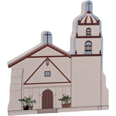 """Mission San Buenaventura, Ventura, CA. Handcrafted in the USA 3/4"""" thick wood by Cat's Meow Village."""