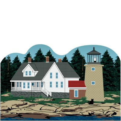 "Colorful and detailed replica of Whitehead Island Lighthouse, Tenants Harbor, Maine. Handcrafted in the USA 3/4"" thick wood by Cat's Meow Village."