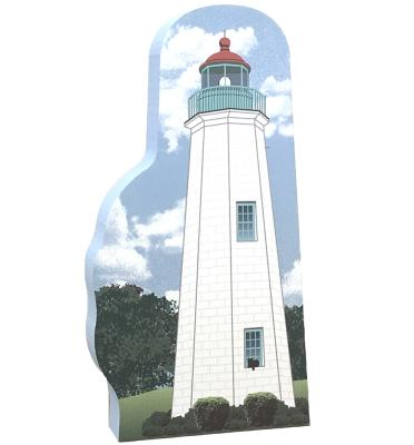 """Handcrafted 3/4"""" thick wooden replica of Old Point Comfort Lighthouse, Ft. Morgan VA. Made in the USA by The Cat's Meow Village."""