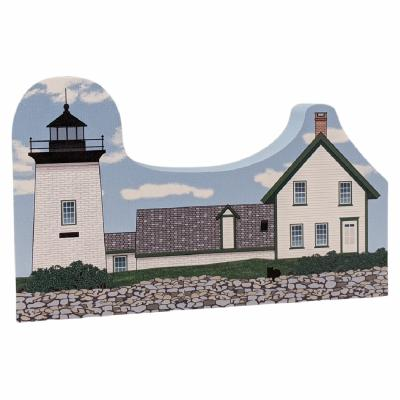 "Colorful and detailed replica of Grindle Point Lighthouse, Islesboro, Maine. Handcrafted in the USA 3/4"" thick wood by Cat's Meow Village."