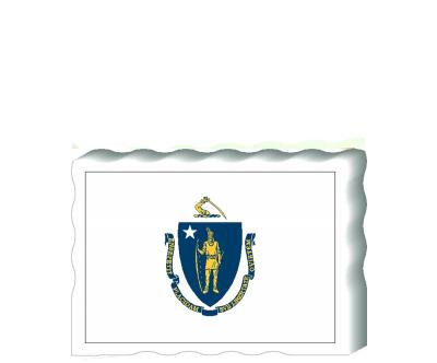 Slightly larger than a deck of cards, this wooden postcard version of the Massachusetts flag can fit into any nook around your home or workplace showing off your state pride! Handcrafted in the USA by The Cat's Meow Village.