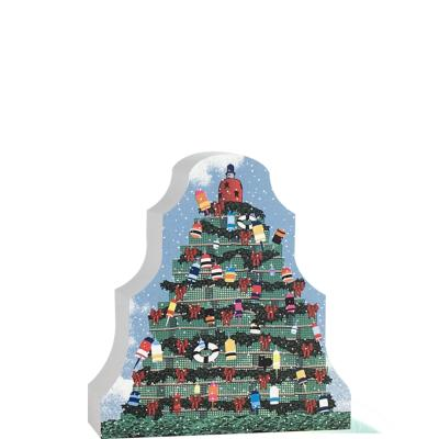 """Colorful detailed front of the Lobster Pot Tree. Handcrafted in the USA 3/4"""" thick wood by Cat's Meow Village."""
