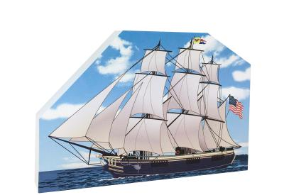 """Replica of the cargo vessel, Friendship of Salem, located in the Salem Maritime National Historic Site. Handcrafted in 3/4"""" thick wood by The Cat's Meow Village in the USA."""