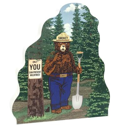 "You can help Smokey Bear prevent wildfires by following fire safety standards. Handcrafted of 3/4"" thick wood in Wooster, Ohio by The Cat's Meow Village."