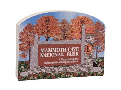 """Entrance sign to Mammoth Cave, Mammoth Cave Nat'l Park, Kentucky.  Handcrafted in 3/4"""" thick wood by The Cat's Meow Village in the USA."""