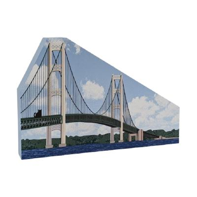 """Mackinac Bridge, St Ignace, Michigan. Handcrafted in the USA 3/4"""" thick wood by Cat's Meow Village."""