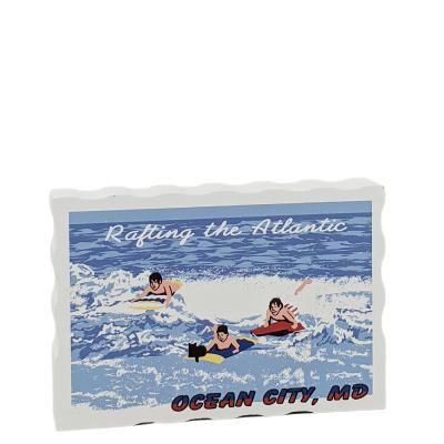"Rafting the Atlantic, Ocean City, Maryland. Handcrafted in the USA 3/4"" thick wood by Cat's Meow Village."