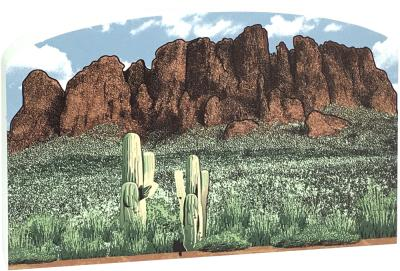 """Superstition Mountains scene handcrafted in 3/4"""" thick wood for your home decor, handcrafted by The Cat's Meow Village in the USA."""