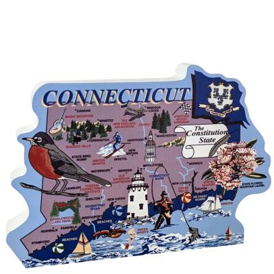 Show your state pride with a state map of Connecticut handcrafted in wood by The Cat's Meow Village