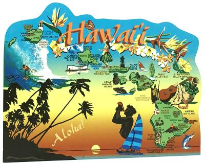 Display your state pride with a state map of Hawaii handcrafted in wood by The Cat's Meow Village