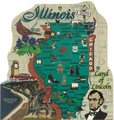 Show your state pride with a state map of Illinois handcrafted in wood by The Cat's Meow Village
