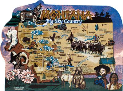 Show your state pride with a state map of Montana handcrafted in wood by The Cat's Meow Village