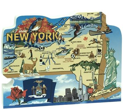 Show your state pride with a state map of New York handcrafted in wood by The Cat's Meow Village