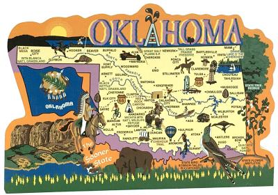Display your state pride with a state map of Oklahoma handcrafted in wood by The Cat's Meow Village