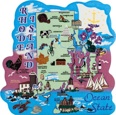 Show your state pride with a state map of Rhode Island handcrafted in wood by The Cat's Meow Village