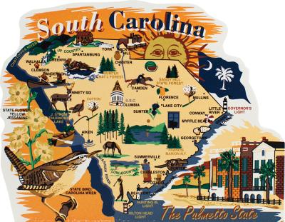 Add this wooden state map of South Carolina to your home decor, handcrafted in the USA by The Cat's Meow Village