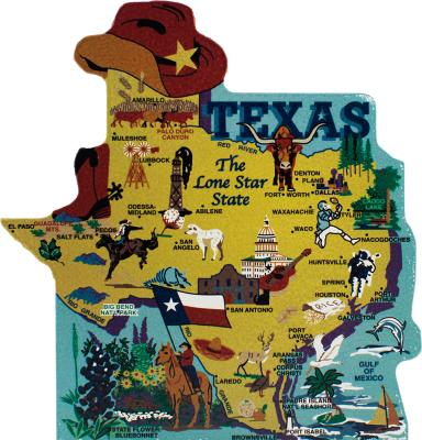 Show your state pride with a state map of Texas handcrafted in wood by The Cat's Meow Village