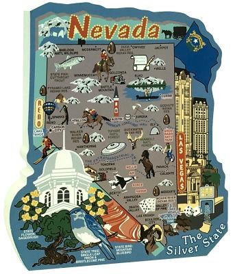 Show your state pride with a state map of Nevada handcrafted in wood by The Cat's Meow Village