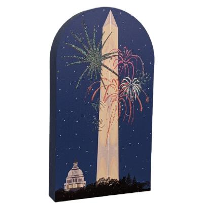 Washington Monument night scene wooden shelf sitter created by The Cat's Meow Village