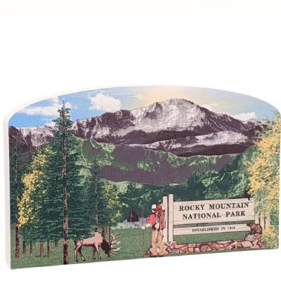"""If you've been to the Rocky Mountains in Colorado, then our 3/4"""" thick wooden scene will remind you of the views your eyes soaked in. Add it to your home decor to remember that special trip. Handcrafted in the USA by The Cat's Meow Village."""