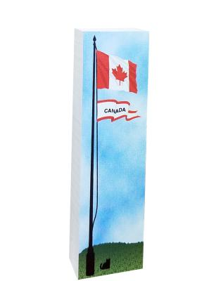 """Canadian flag handcrafted of 3/4"""" thick wood that you can tuck into a bookshelf or perch it on yourdesk. Made in the USA by The Cat's Meow Village."""